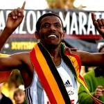 Haile Gebrselassie of Ethiopia celebrates his winning run in the Rock-N-Roll Marathon in Tempe, Arizona on January 15, 2006. (Photo by Glen Andrews/SPK/Allsports)