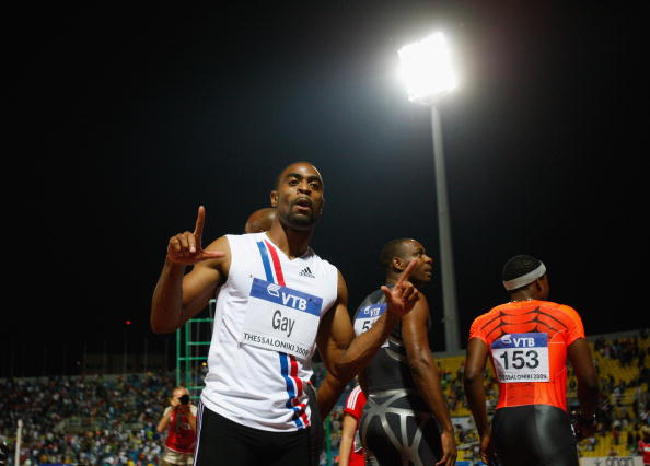 Tyson Gay of USA celebrates after winning the Mens 100 metres during day one of the IAAF World Athletics Final