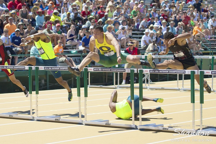 Devon Allen on the Way to Victory in the Hurdles at the 2014 USATF Championships: PHOTO by Shannon Digital Imaging