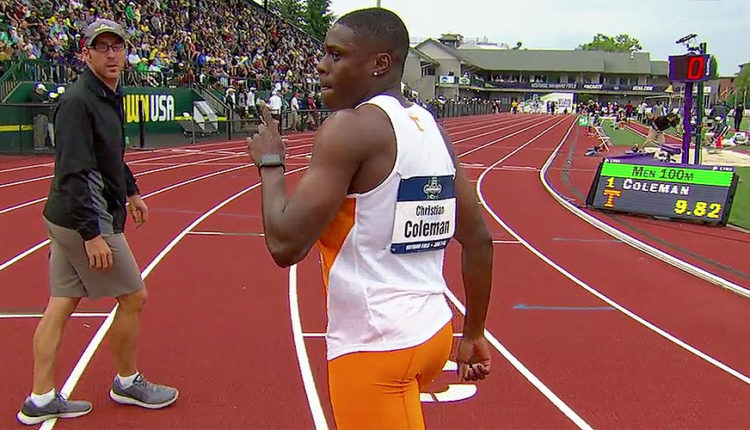 Tennessee's Christian Coleman Smashes Collegiate 100m Record