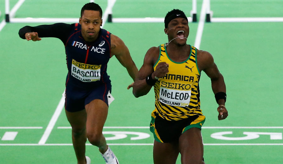 Omar McLeod of Jamaica wins 60m hurdles
