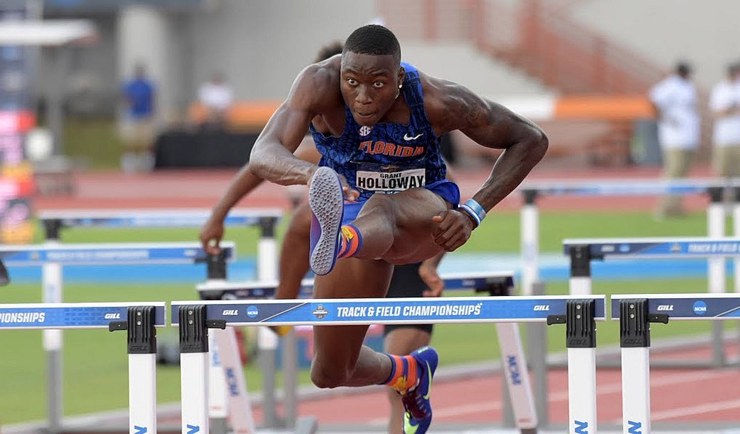 Grant Holloway of USA in the hurdles