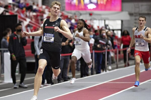 Sophomore Matthew Boling winning the NCAA Indoor Championships 200m