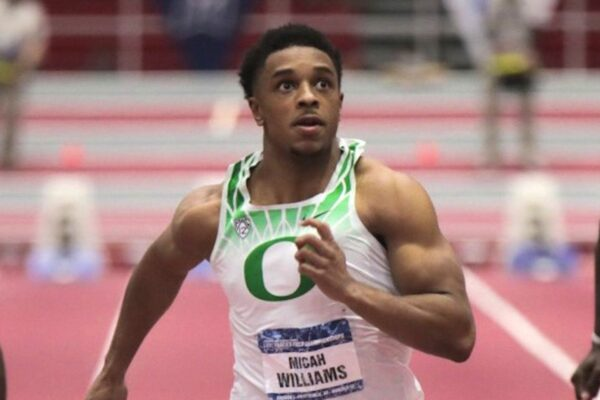 Micah Williams of Oregon in men's 60m at the 2021 NCAA Indoor Track and Field Championships