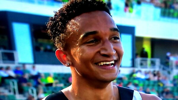 Donavan Brazier during an interview at the 2021 USA Olympic Trials