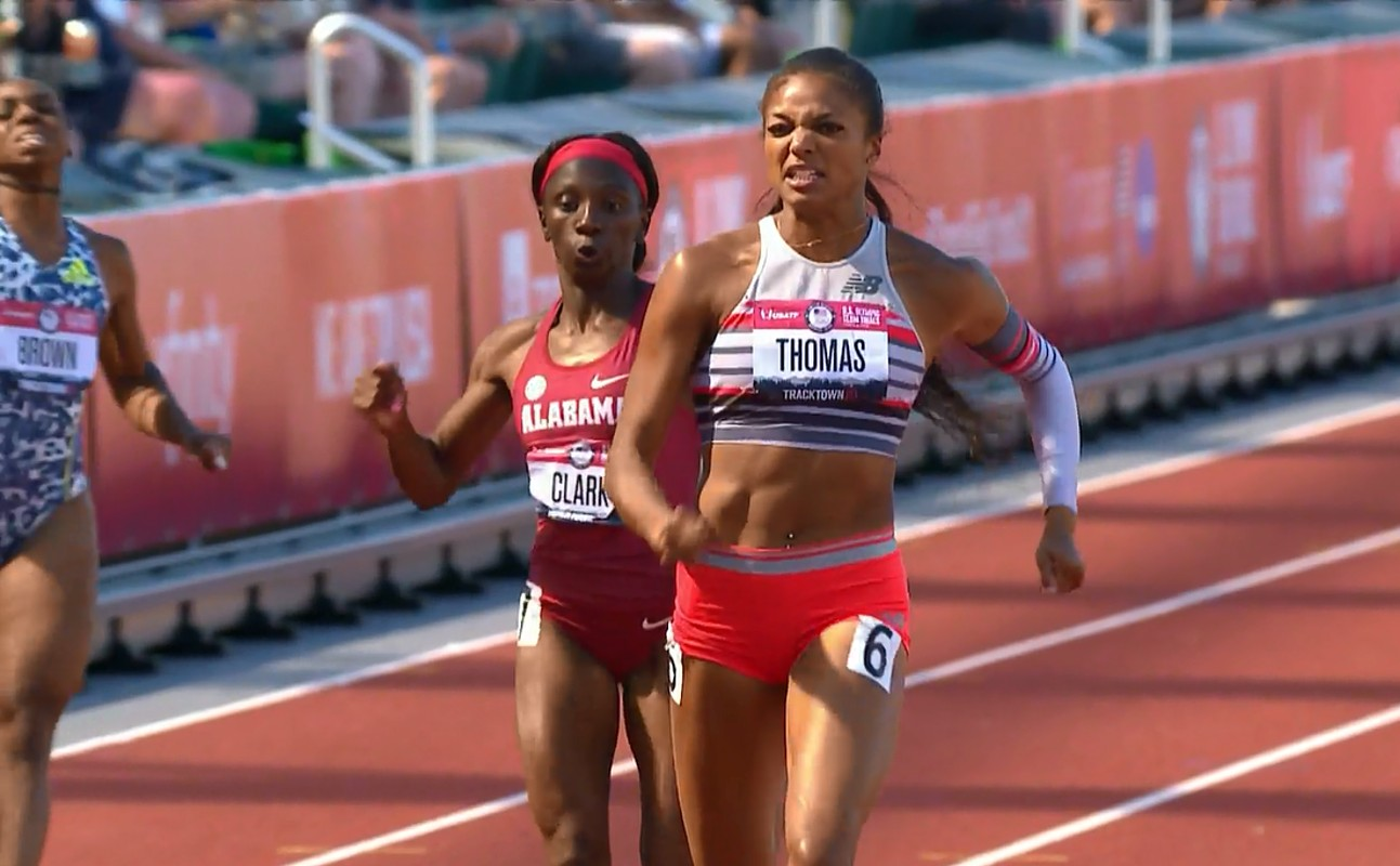 Gabby Thomas wins her 200m semi-final at the USA Olympic trials