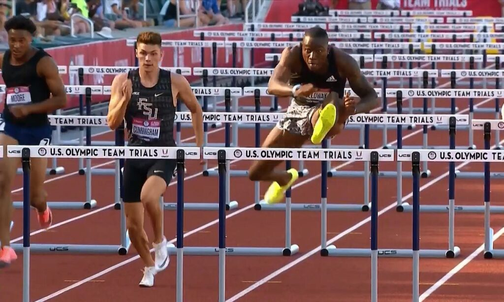 Grant Holloway on his way to running 12.81 at the U.S. Olympic trials