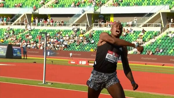 Grant Holloway reacts after running 12.81 at the U.S. Olympic trials