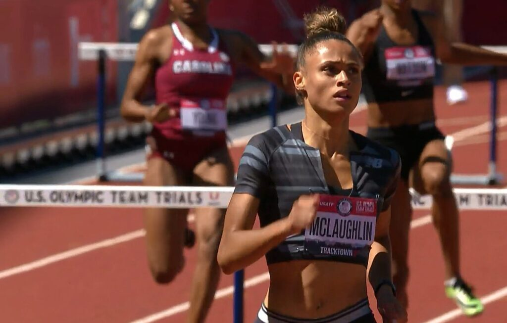 Sydney McLaughlin wins her 400m hurdles heat in the 2021 USA Olympic trials