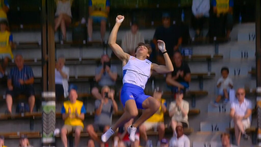 Armand Duplantis clears the bar during the pole vault at the 2021 Stockholm Diamond League