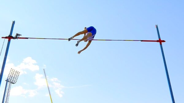 Armand Duplantis of Sweden during the pole vault at the 2021 Stockholm Diamond League