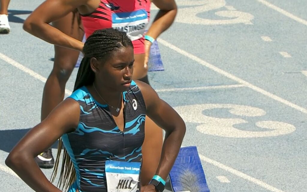 Candace Hill of USA at American Track League in Los Angeles