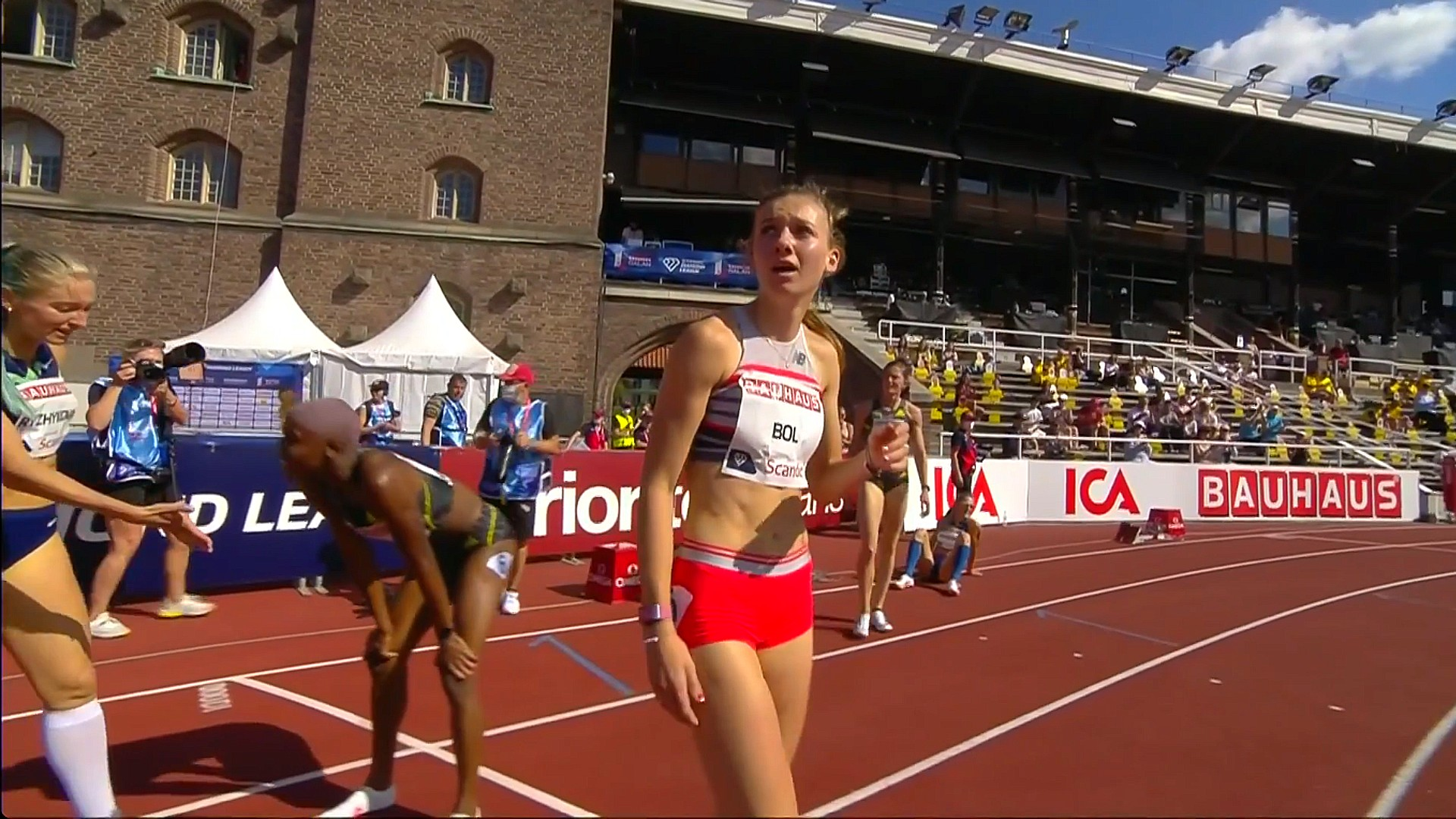 Femke Bol of The Netherlands after the 400m hurdles at the 2021 Stockholm Diamond League