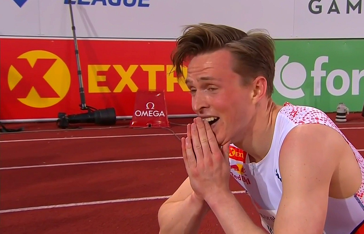 Karsten Warholm after breaking the 400m hurdles world record at the at the 2021 Bislett Games Oslo Diamond League meeting