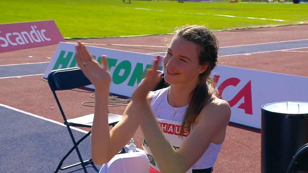 Nicola McDermott of Australia reacts during the high jump at the 2021 Stockholm Diamond League