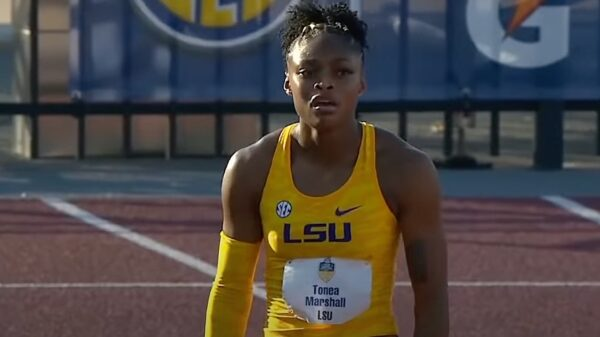 Tonea Marshall for LSU in the 100m hurdles