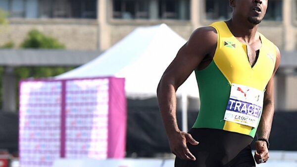 Tyquendo Tracey of Jamaica in the 100m