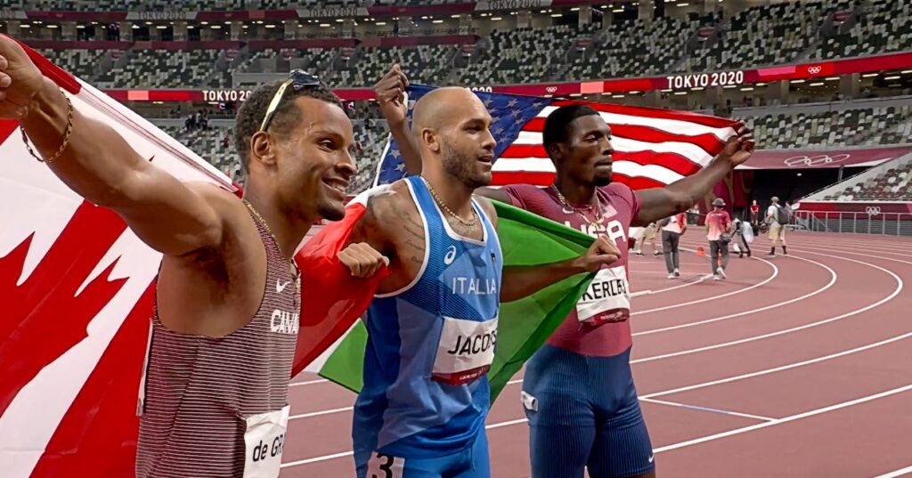 Andre de Grasse (L), Lamont Marcell Jacobs and Fred Kerley