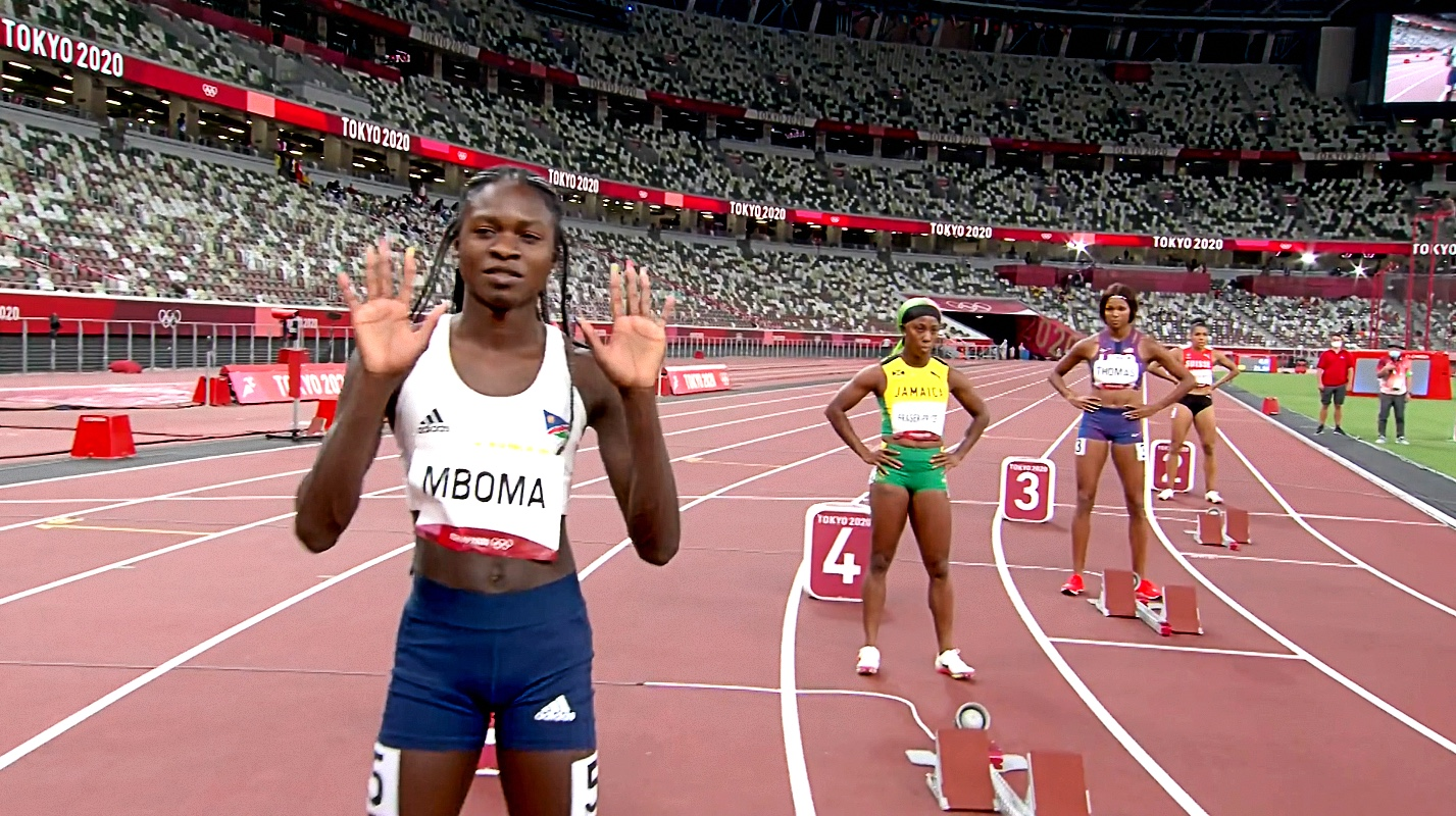 Christine Mboma ahead of the Tokyo 2020 women's 200m Final
