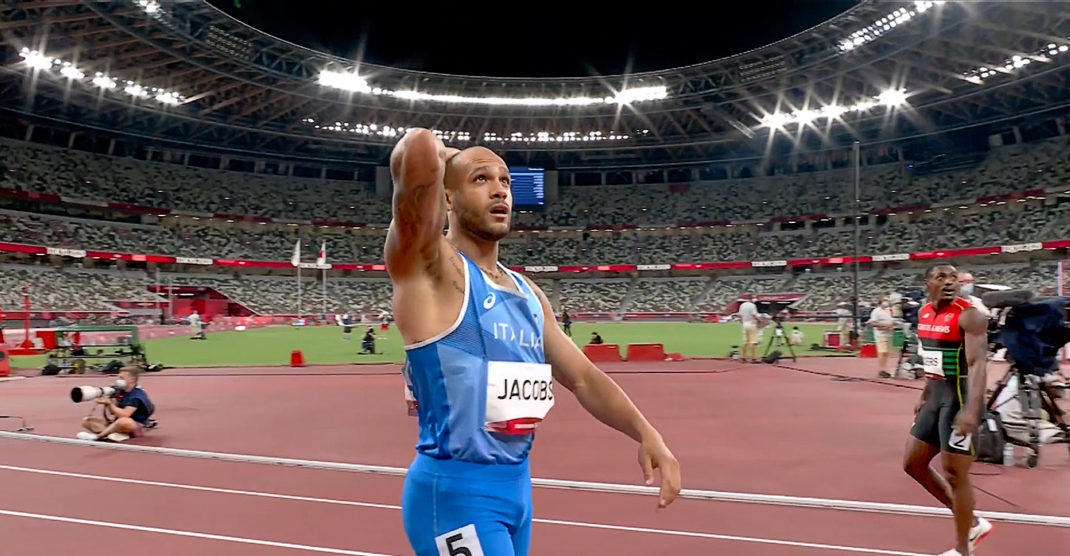 Lamont Marcell Jacobs of Italy wins the 100m at Tokyo 2020 Olympics